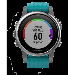 Спортивные часы FENIX 5S серебристые с бирюзовым ремешком