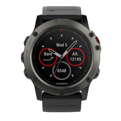 Спортивные часы FENIX 5X SAPPHIRE серые с черным ремешком